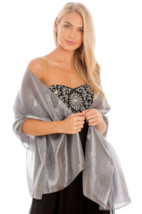 Silver Grey Silky Wedding Wrap