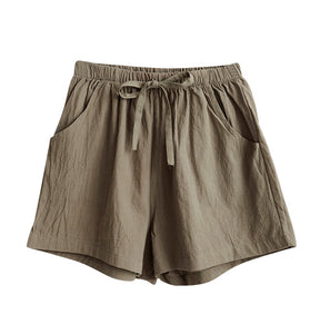 Womens Loose Fit Khaki Shorts