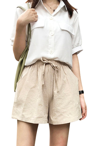 Womens Loose Fit Beige Shorts