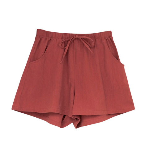 Womens Loose Fit Red Shorts
