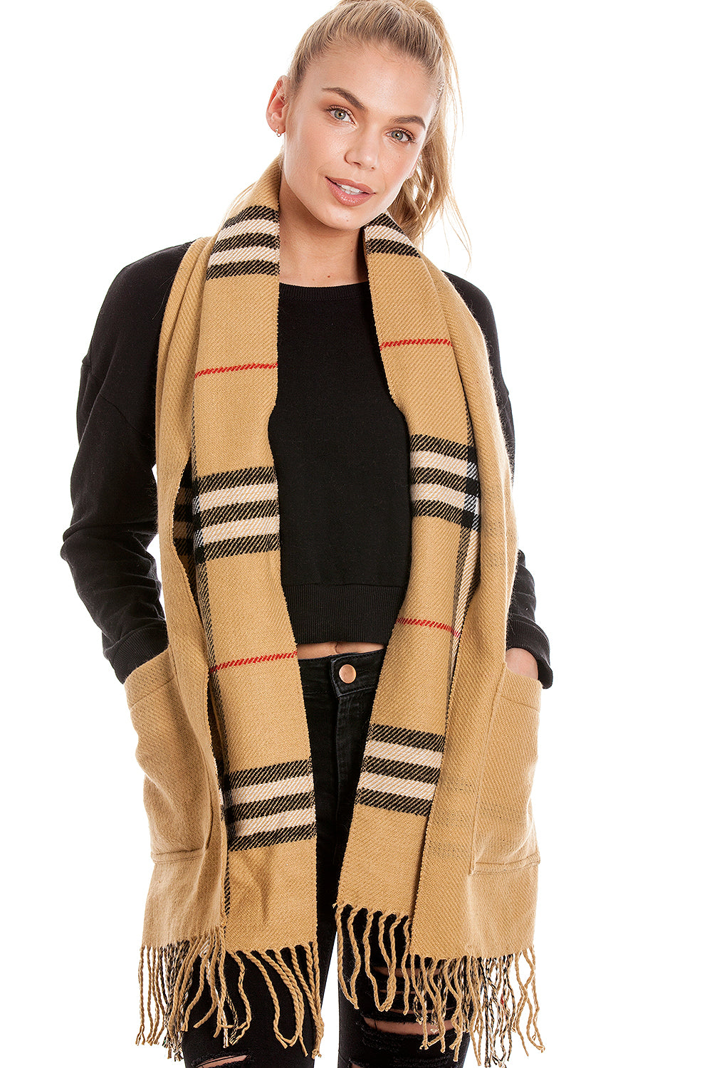 Large Camel Tartan Scarf With Pockets