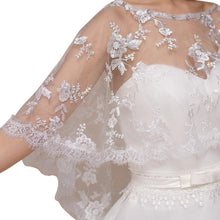 Load image into Gallery viewer, Ivory Lace Wedding Capelet Bridal Shawl With Crystals Style-2