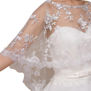 Ivory Lace Wedding Capelet Bridal Shawl With Crystals Style-2