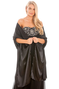 Black Satin Wedding Wrap