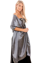 Load image into Gallery viewer, Gunmetal Grey Satin Wedding Wrap