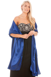 Navy Blue Satin Wedding Wrap