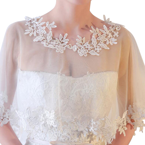 Ivory Lace Tulle Trim Wedding Bridal Shawl Capelet Style-4