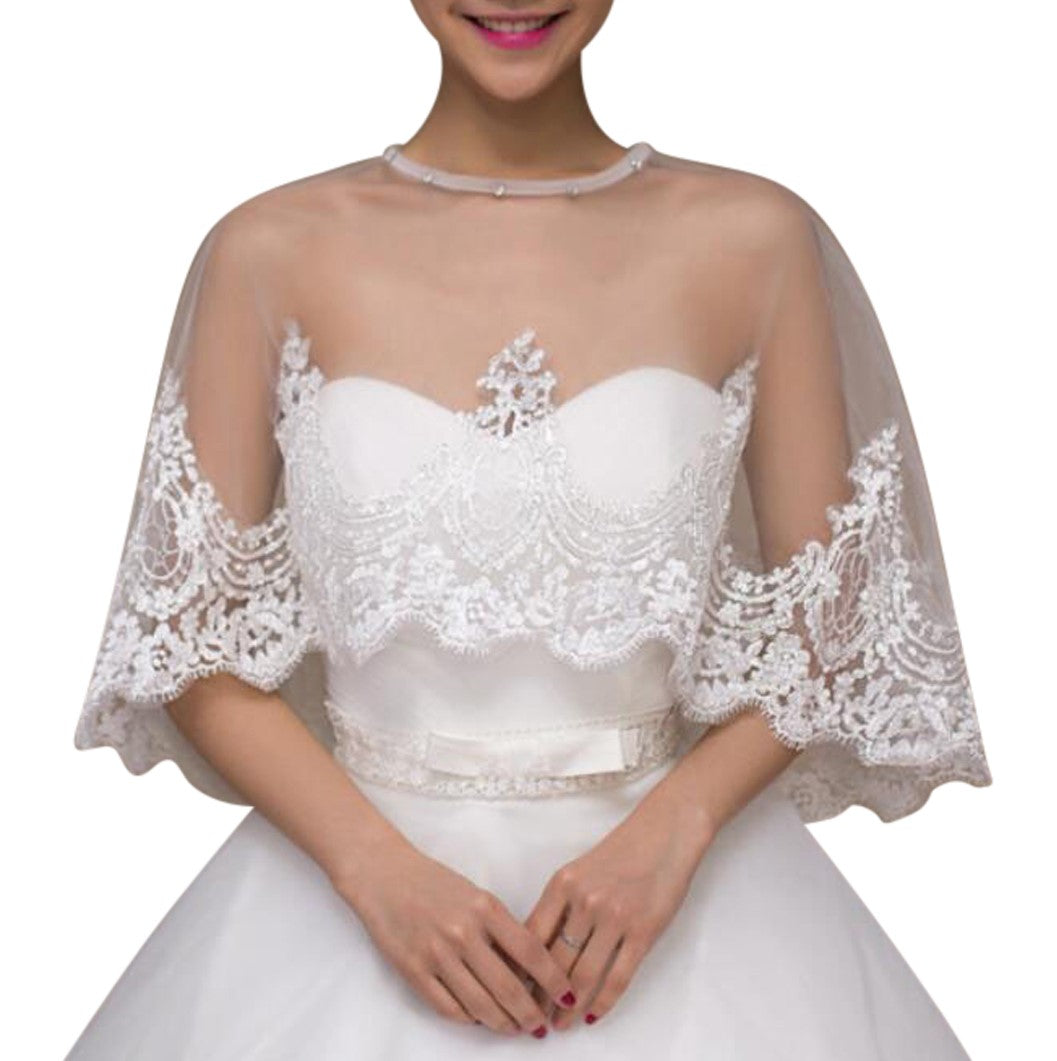 ca520457ba Load image into Gallery viewer, Ivory Lace Wedding Capelet Bridal Shawl  With Crystals Style- ...