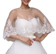Load image into Gallery viewer, Ivory Lace Wedding Capelet Bridal Shawl With Crystals Style-5