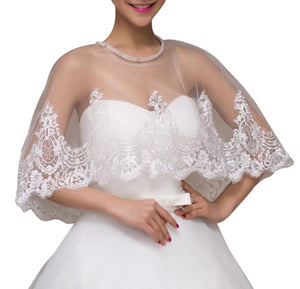 Ivory Lace Wedding Capelet Bridal Shawl With Crystals Style-5