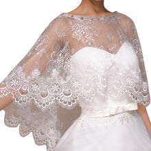 Load image into Gallery viewer, Luxury Ivory Lace Wedding Capelet Bridal Shawl With Crystals Style-1
