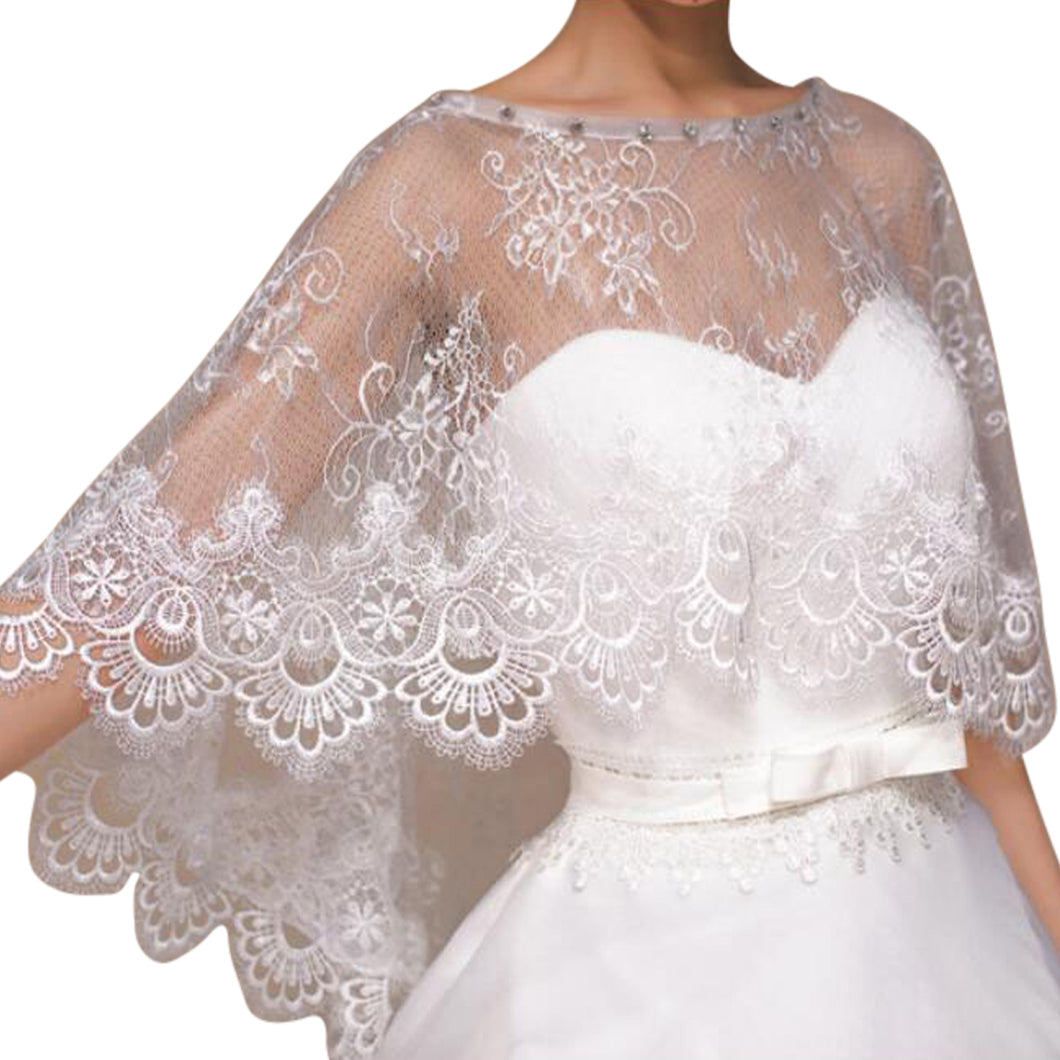 Luxury Ivory Lace Wedding Capelet Bridal Shawl With Crystals Style-1
