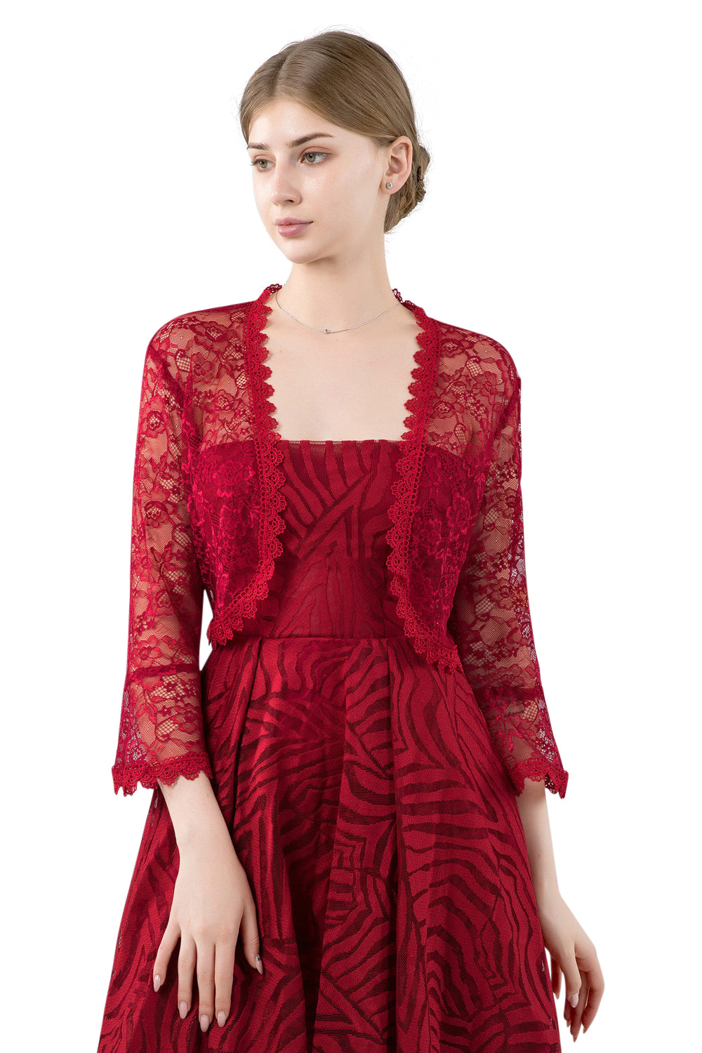 Wine Red Lace Open Cardigan