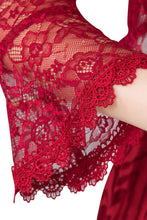 Load image into Gallery viewer, Wine Red Lace Open Cardigan