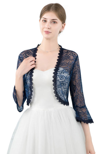 Navy Blue Lace Open Cardigan