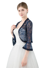 Load image into Gallery viewer, Navy Blue Lace Open Cardigan