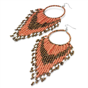 Large Coral Bead Earrings