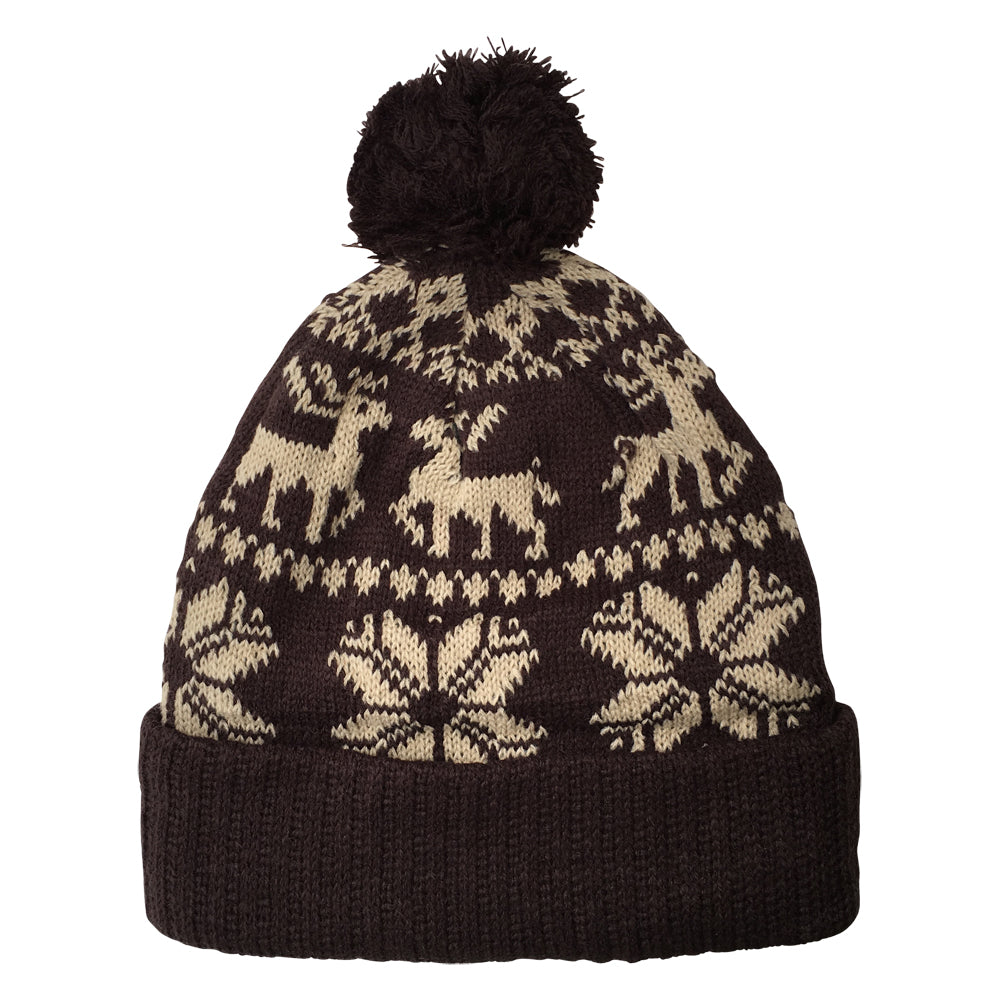 Brown Christmas Knit Beanie Hat