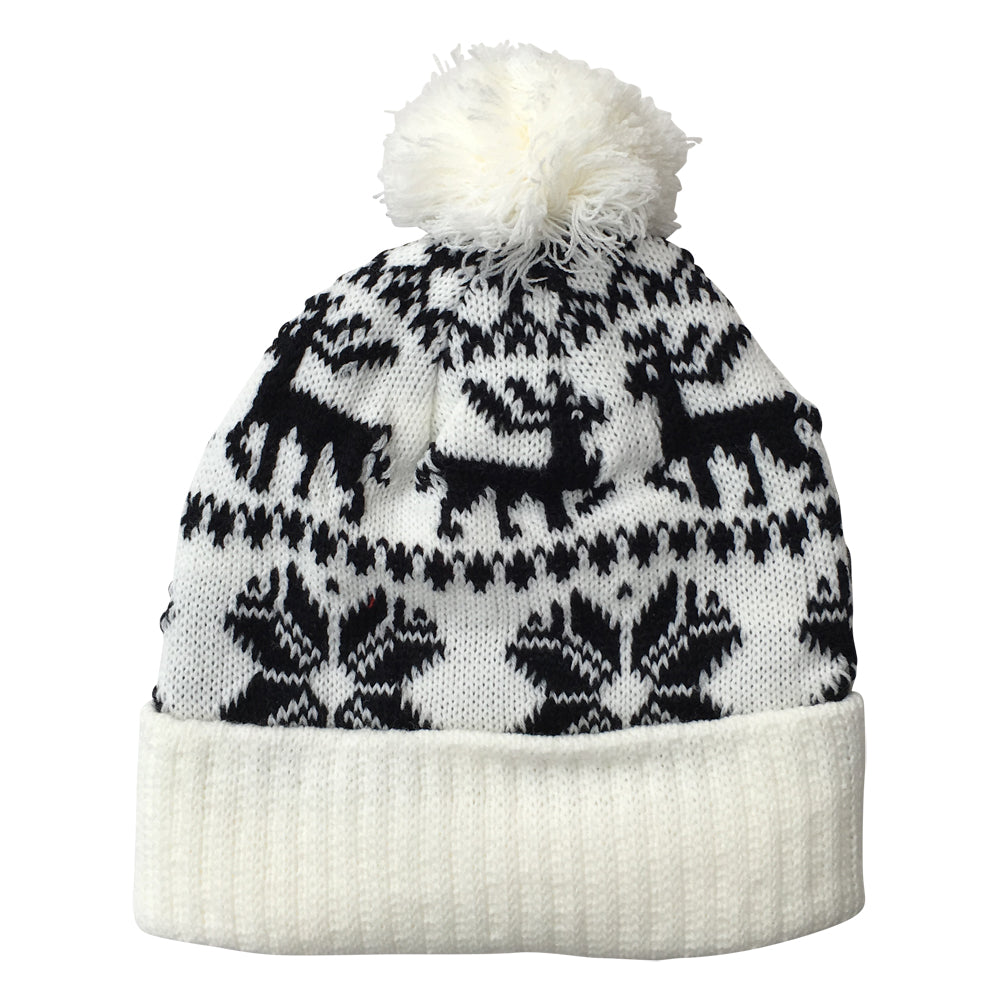 White & Black Christmas Knit Beanie Hat