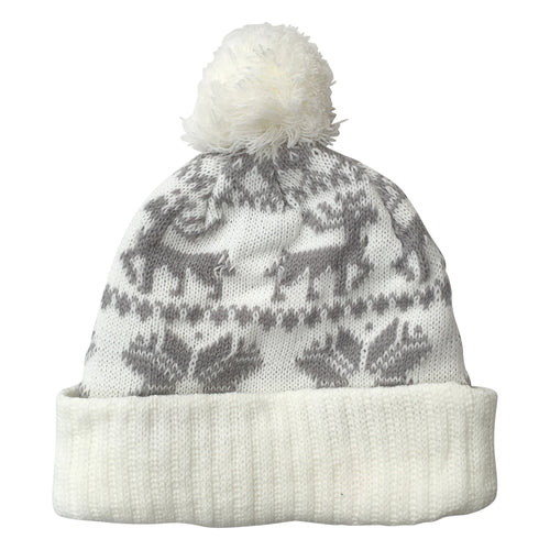 White & Grey Christmas Knit Beanie Hat