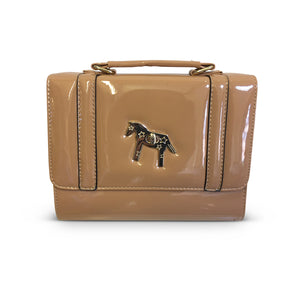Khaki Horse Embossed Over Shoulder Bag