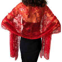Load image into Gallery viewer, Red Sequin Shawl