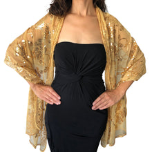 Load image into Gallery viewer, Gold Sequin Shawl
