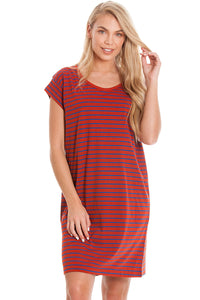 Red Striped Maternity & Breastfeeding Dress