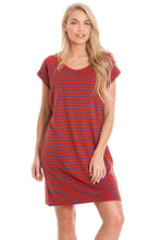 Load image into Gallery viewer, Red Striped Maternity & Breastfeeding Dress