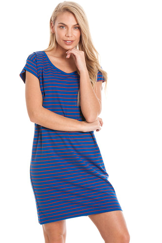 Blue Striped Maternity & Breastfeeding Dress