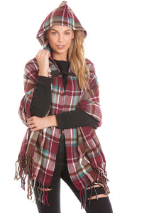 Burgundy Hooded Tartan Blanket Wrap Cape Open Poncho