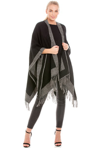 Reversible Black & Grey Blanket Wrap Shawl