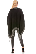 Load image into Gallery viewer, Reversible Black & Grey Blanket Wrap Shawl