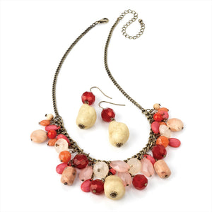 Pink Bead Necklace & Earrings Set