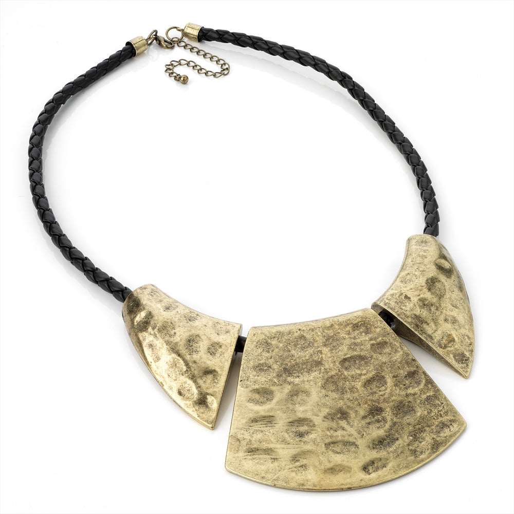 Burnished Gold Effect Black Cord Chunky Necklace