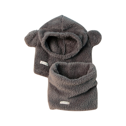 Baby Kids Teddy Bear Fleece Hat & Snood Set