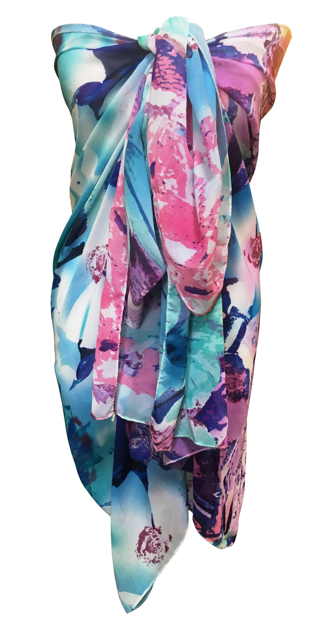 Abstract Purple & Blue Chiffon Sarong