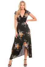 Load image into Gallery viewer, Black Floral Wrap Dress
