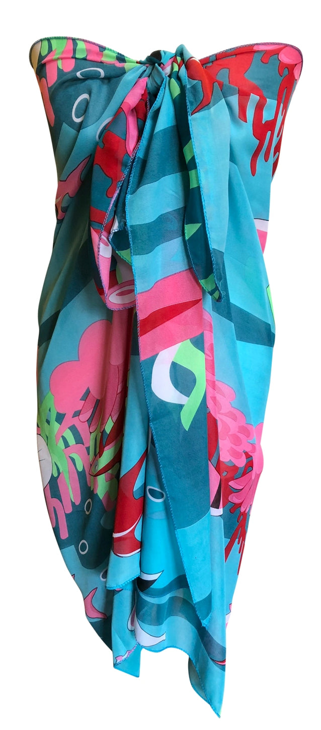 Blue Abstract Chiffon Sarong