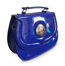 Load image into Gallery viewer, Blue Patent Embossed Over Shoulder Bag