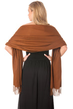 Load image into Gallery viewer, Brown Cashmere Shawl Scarf Wrap