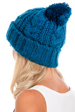 Load image into Gallery viewer, Blue Cable Knit Beanie