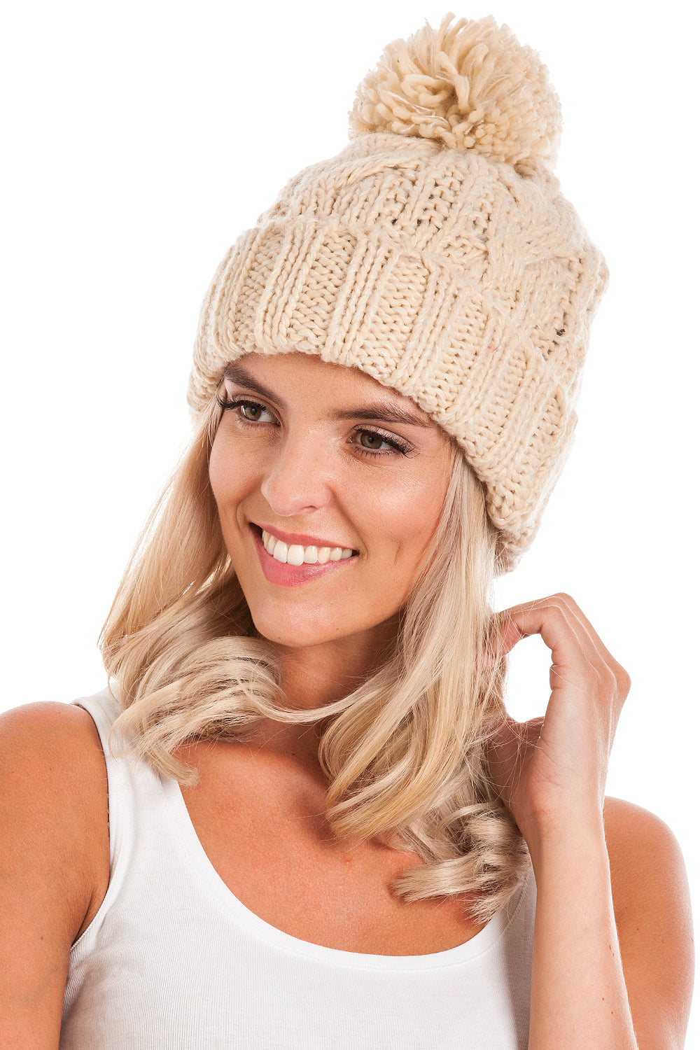 Beige Cable Knit Beanie