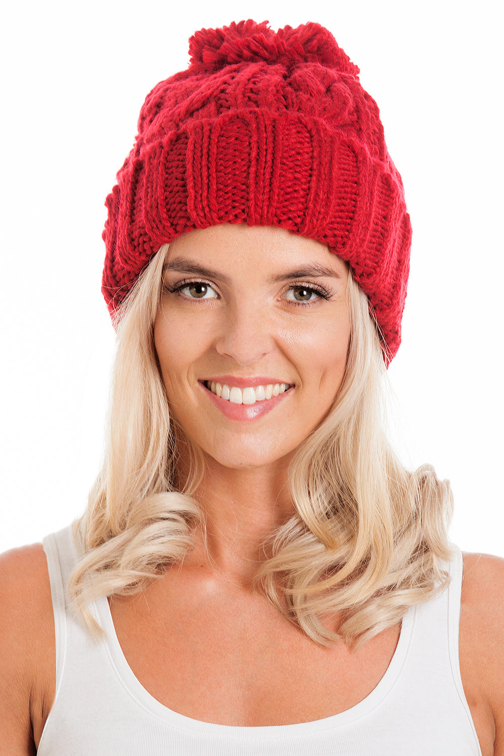 Red Cable Knit Beanie