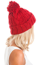 Load image into Gallery viewer, Red Cable Knit Beanie