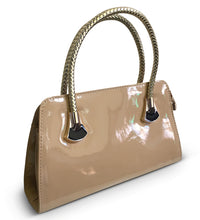 Load image into Gallery viewer, Khaki Patent Tote With Woven Handle