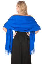 Load image into Gallery viewer, Cobalt Blue Cashmere Shawl Scarf Wrap