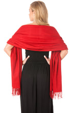 Load image into Gallery viewer, Deep Red Cashmere Pashmina Shawl Scarf