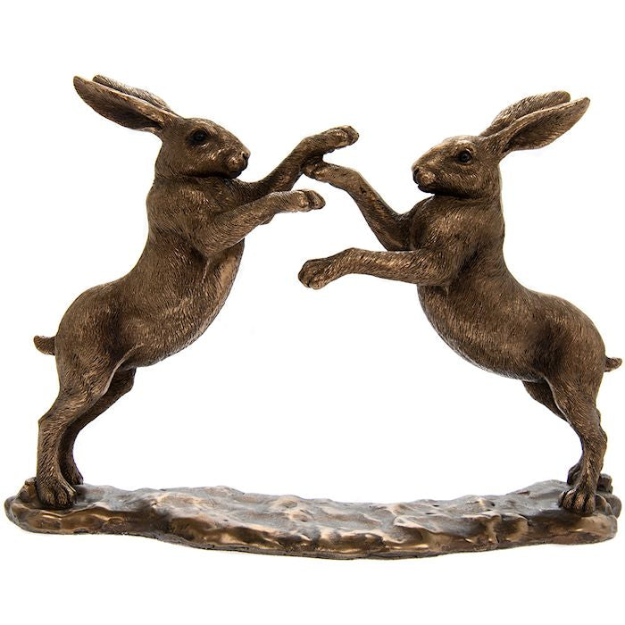 Reflections Bronzed Twin Hares Playing 21cm