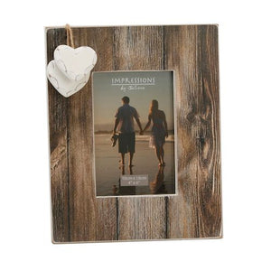 Distressed Wood Frame With Hanging Hearts